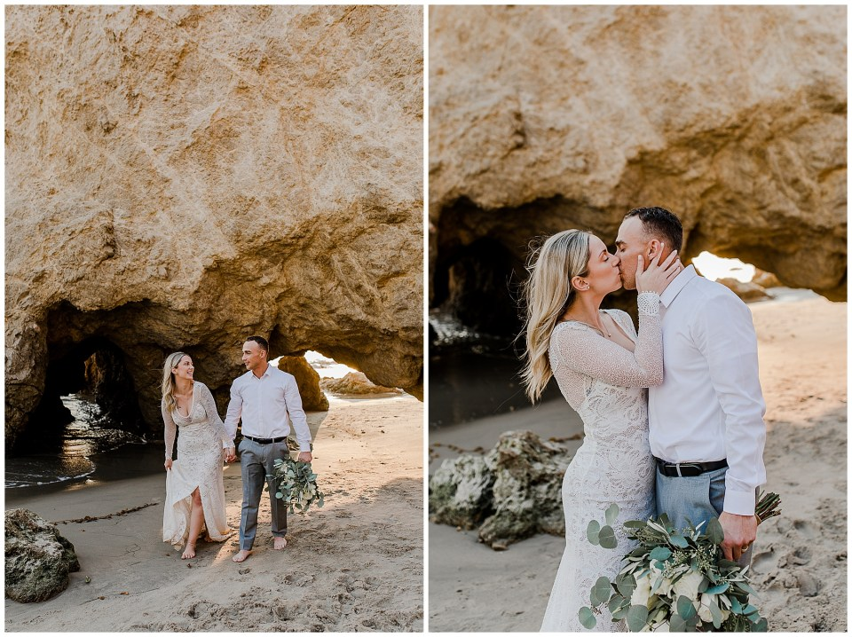 man and woman holding hands and kissing during their el matador beach elopement