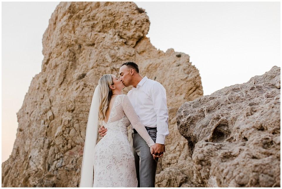 bride on the beach during her el matador beach elopement