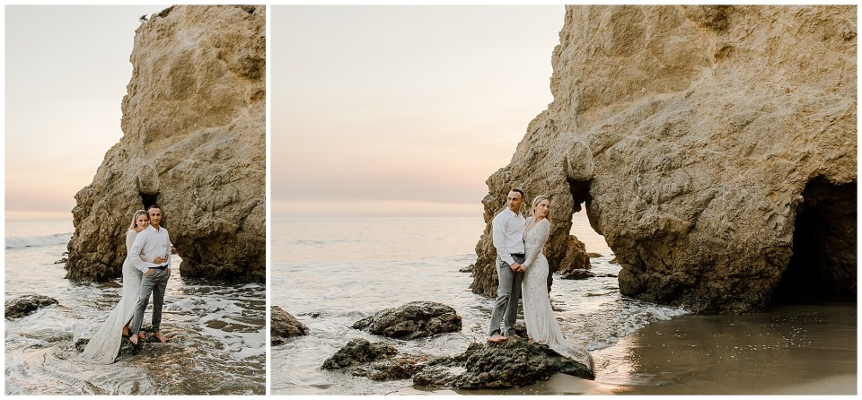 bride and groom climb on top of a rock during their el matador beach elopement