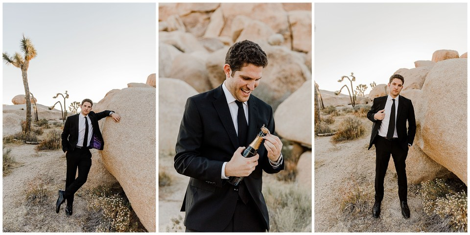 groom getting ready during his joshua tree elopement