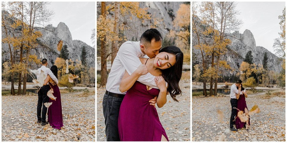 bride and groom having a blast during their adventurous yosemite engagement session