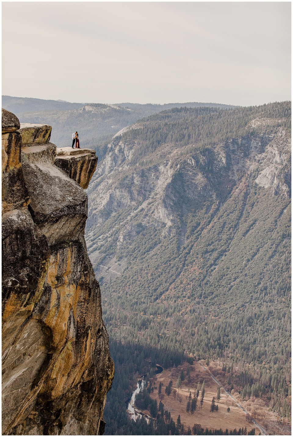 bride and groom take adventurous yosemite engagement session
