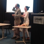 Andrew Bisits and Anke Reitter demonstrate breech skills