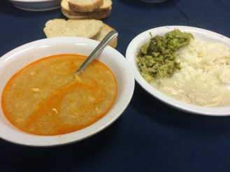 Turkey and rice with gravy and pesto AND vegetable-egg soup