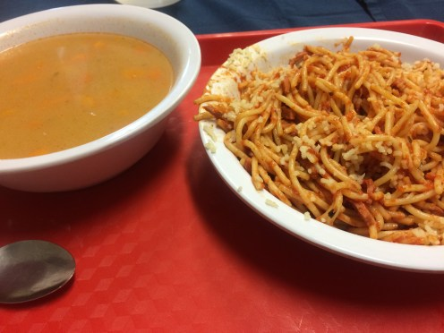 Spaghetti with sausage and vegetable soup