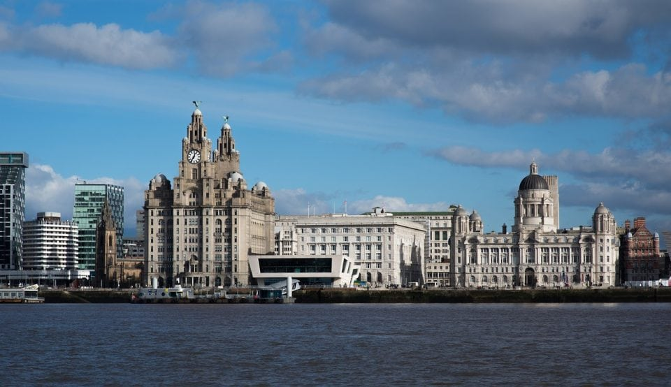 a picture of three graces on the Liverpool Waterfront