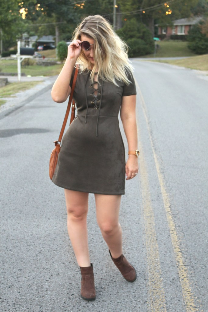 army green suede dress