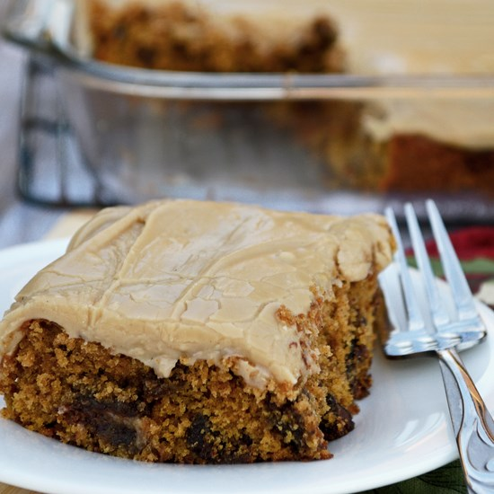 Gluten free pumpkin cake with brown sugar frosting