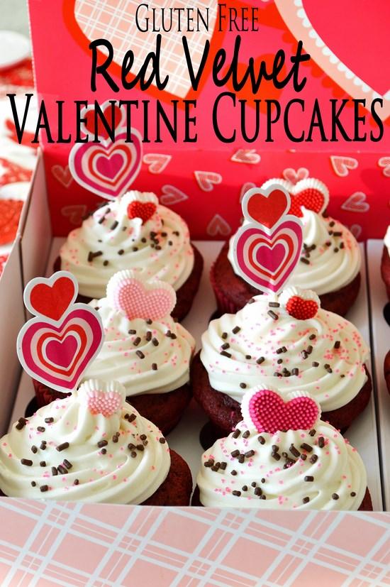 Gluten Free Red Velvet Valentines Cupcakes