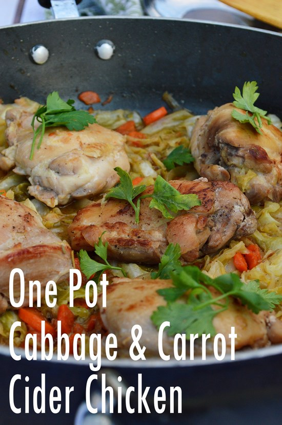 A healthy and easy one pot thirty minute meal. Stewed cabbage and carrots cooked in an apple cider vinegar mixture with tender and juicy boneless chicken thighs.