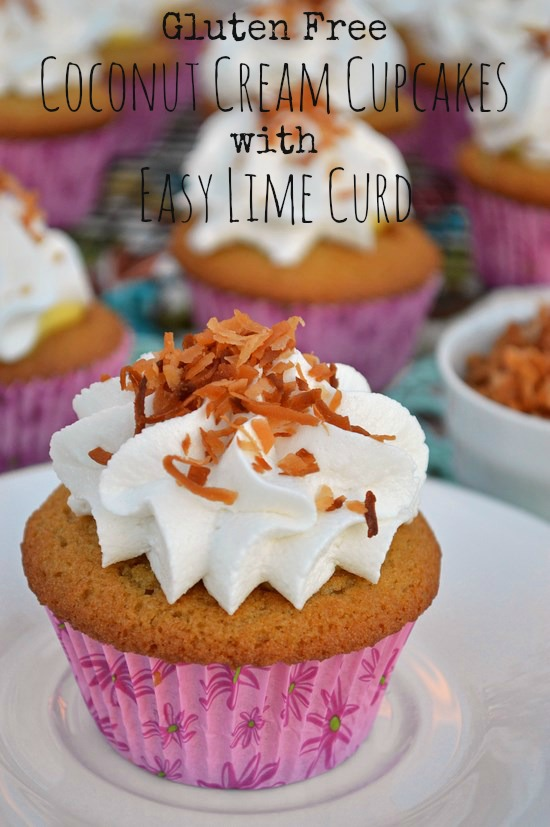 A perfectly sweet coconut treat made of tender gluten free coconut cupcakes, an easy 5 minute lime curd pudding, and a fluffy dairy free coconut cream frosting.