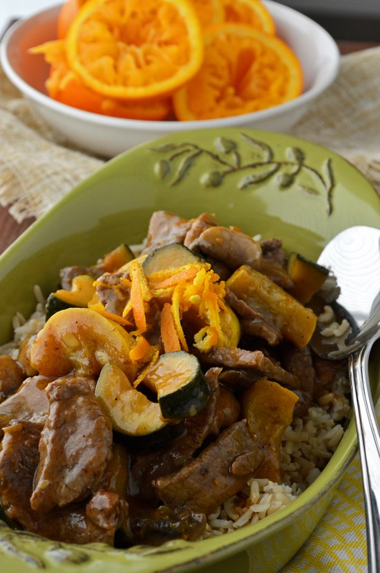 Tender Gluten Free Orange Beef and Summer Squash Stir-Fry tossed in a citrusy and tangy orange soy sauce with loads of zucchini and yellow squash. The perfect 30 minute Asian cuisine for a weeknight.