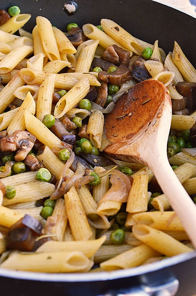 This quick and easy Gluten Free Mushroom and Eggplant Balsamic Pasta is tossed in a tangy balsamic glaze is a 30 minute vegetarian meal. Add sweet peas for extra flavor and color.