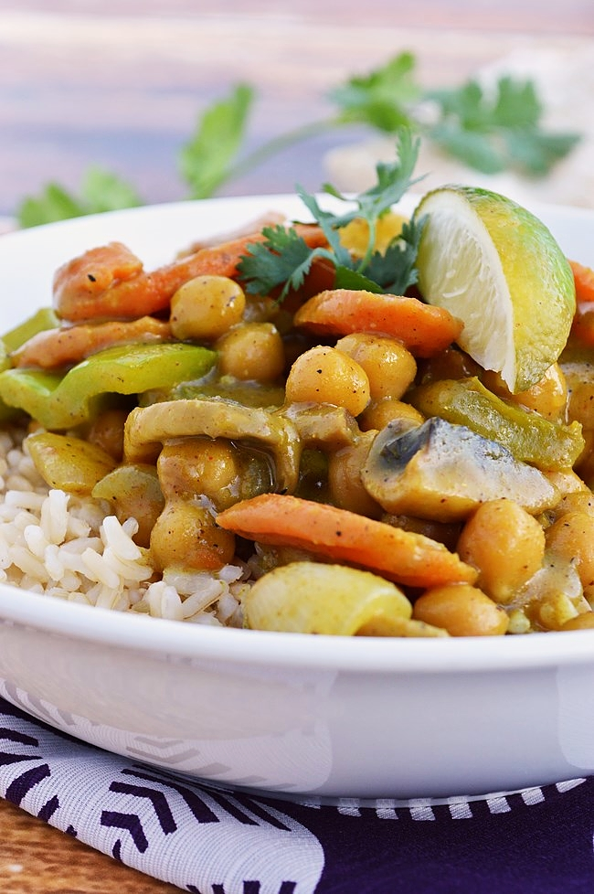 Try this Gluten Free Chickpea Coconut Curry for a quick and easy meal. Loaded with fresh veggies makes this stir fry dish a healthy option for a weeknight dinner.