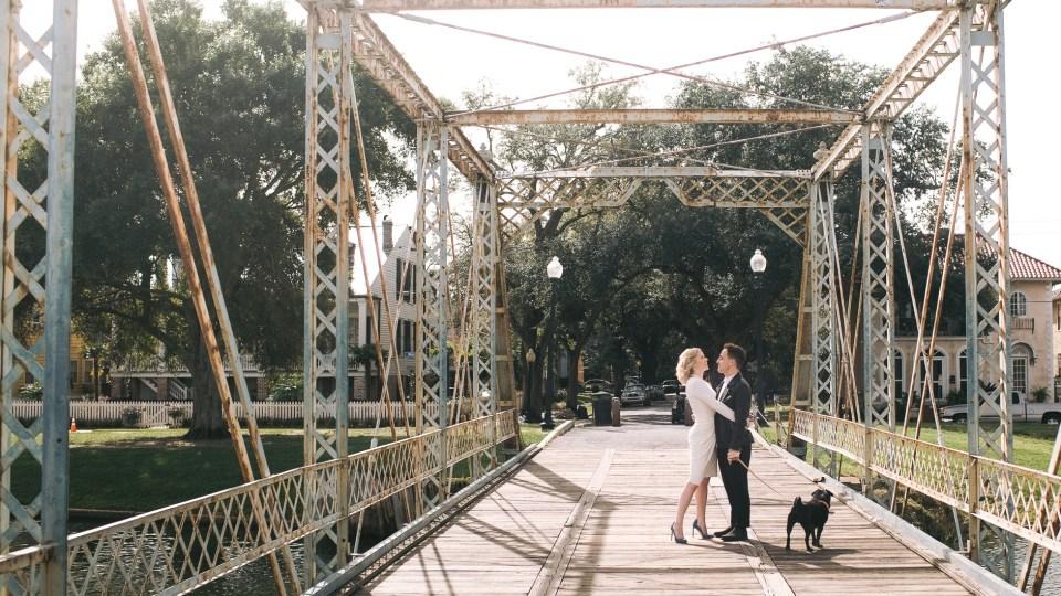 Couple enjoys their small bayou saint john wedding in New Orleans.