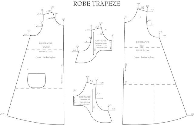 Patron robe trapèze