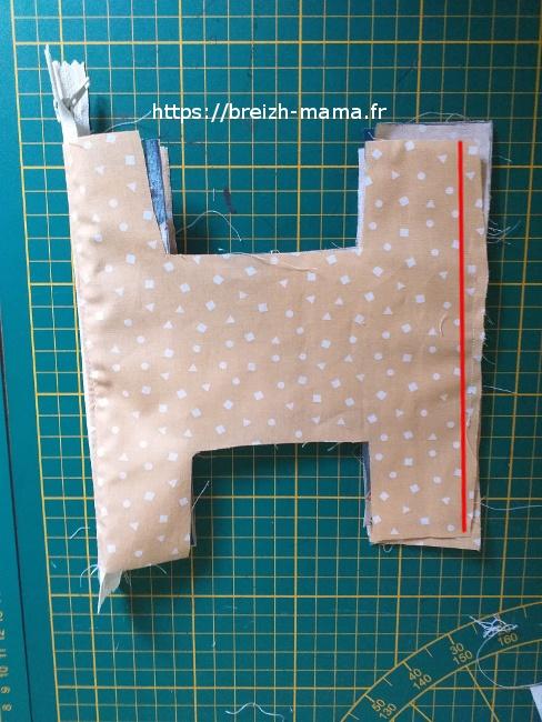 13 - Diposer vos tissu ainsi et coudre le long de la ligne rouge
