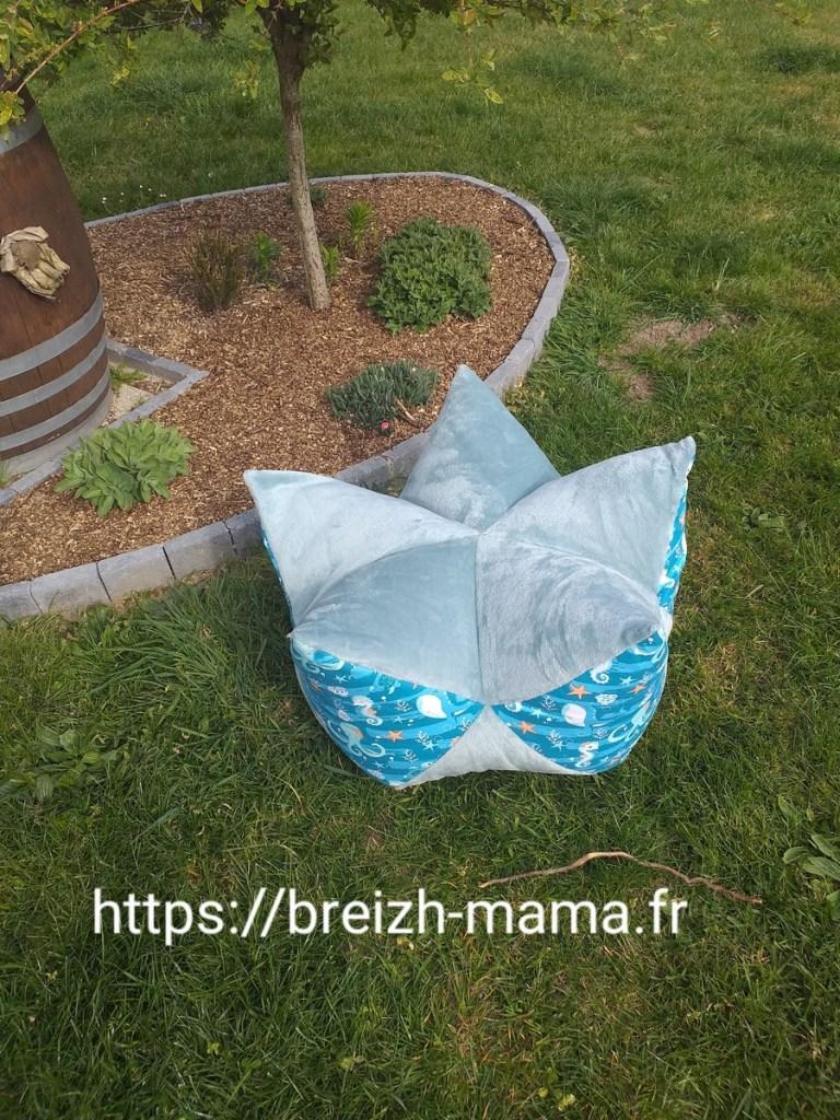 Pouf lotus bleu
