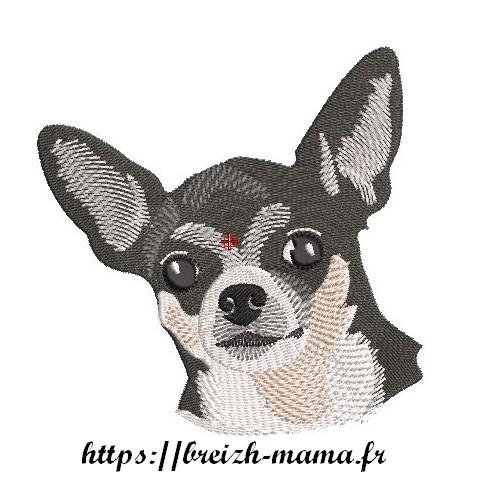 Motif broderie tête Dolly chiwawa