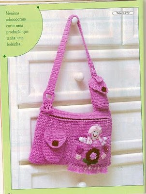 Sac fillette rose au crochet