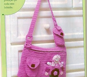 Sac fillette rose au crochet