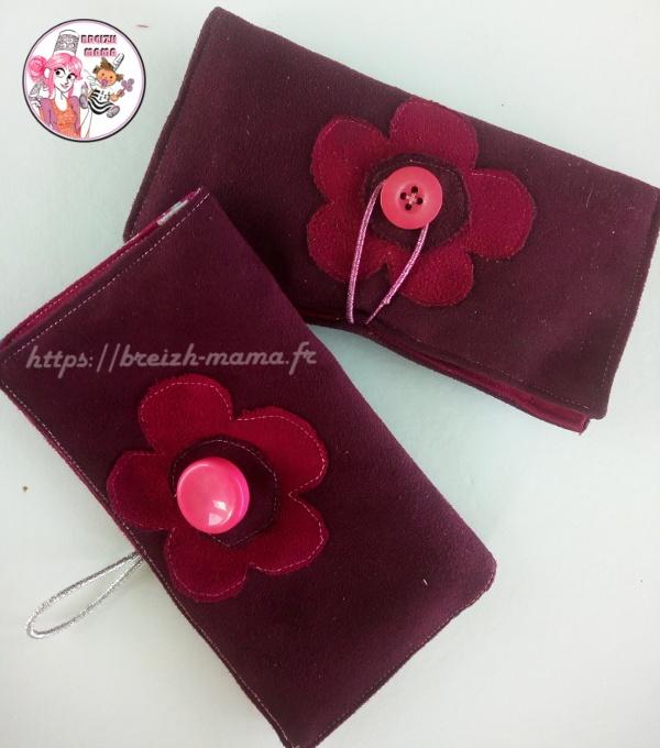 blague a tabac suedine rose violette