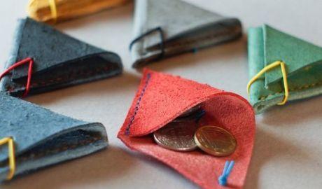 porte monnaie cornet cuir