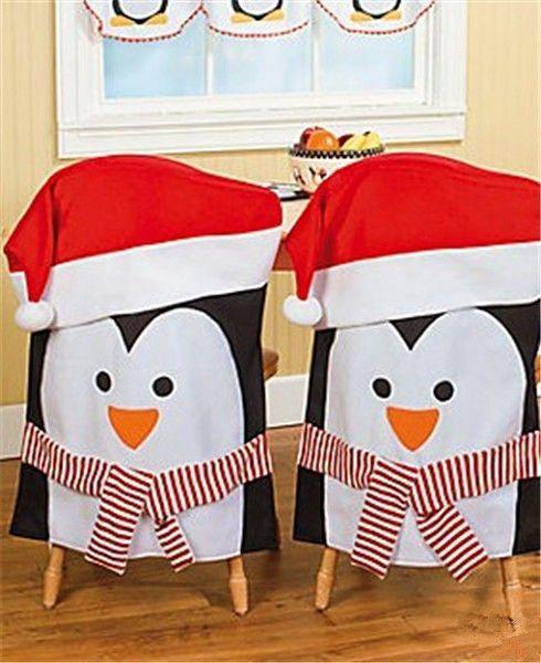 Couvre chaise pingouins de Noël