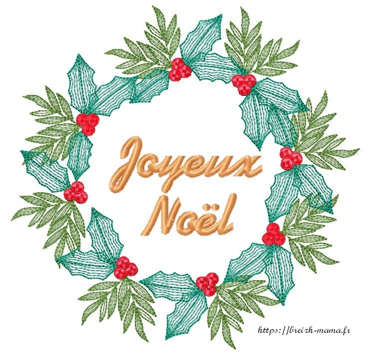 Motif broderie couronne Joyeux Noël en houx