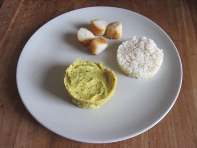 photo recette purée Pannais Curry et Saint Jacques bébé Breizhou