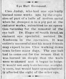 Cleo Juday loses eye - Enquirer - Jan 13, 1910