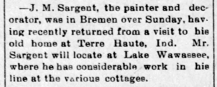 J M Sargent moves to Wawasee - Enquirer - Nov 10, 1899