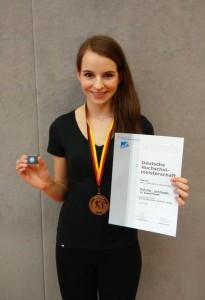 Monika Wikowski trat auf der Deutschen Hoch-schulmeisterschaft im Karate für die Hochschule Bremerhaven an