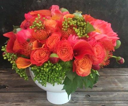 orange-roses-proteas-modern-white-bowl