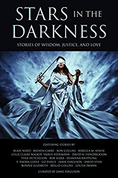 A book cover featuring an image of a blindfolded woman wearing a white toga and holding a sword.