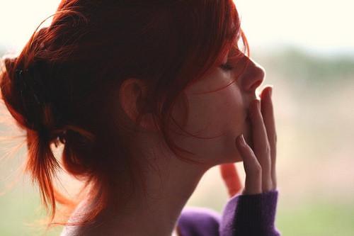 contemplative redhead