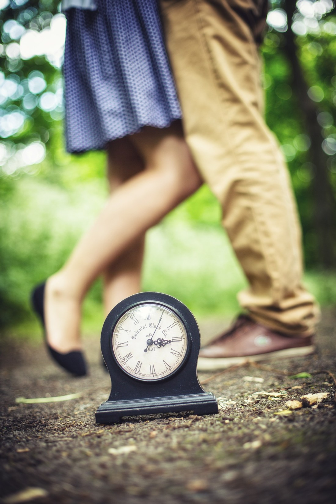 couple with clock