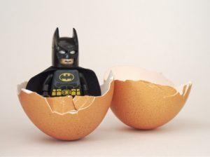 batman figurine egg shell