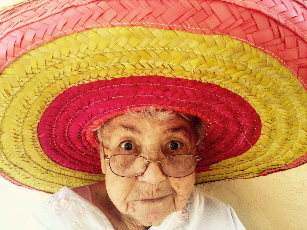 older woman in sombrero