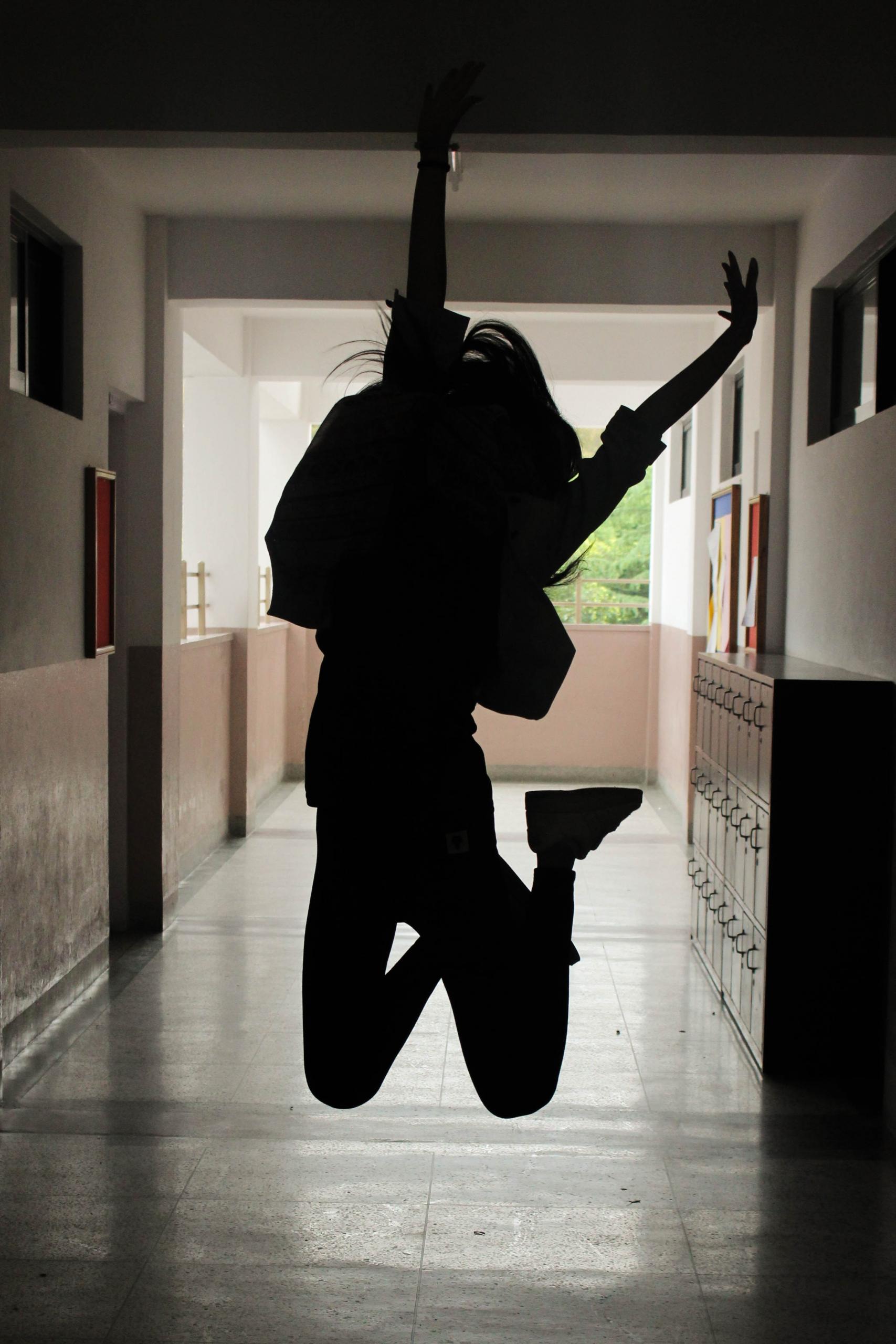 jumping school hallway