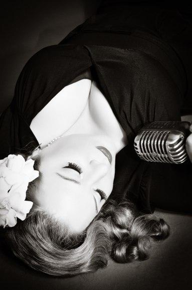 Black & White image of Brenda Layne with Gardenia in her Hair