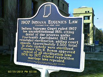 Indiana historic marker: eugenics law.