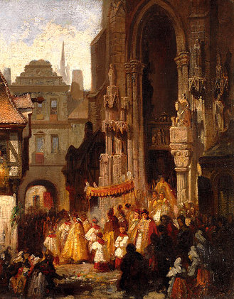Carl Emil Doepler the Elder's 'Fronleichnamsprozession/Corpus Christi procession.'