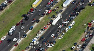 Brett Coomer/Chronicle's photo of Hurricane Rita evacuation, on Interstate 45 in Huntsville, Texas. Gridlock and accidents killed roughly a hundred people. (2015)