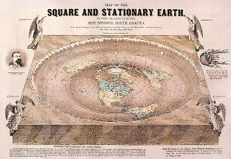 Orlando Ferguson's 'Map of the Square and Stationary Earth.' (1893) The legend at top says, in part, 'this ... is the Bible Map of the World.'