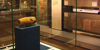 British Museum Room 55, the Cyrus Cylinder at left