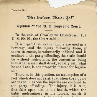 Anti-Saloon League's 'The saloon must go: Opinion of the U.S. Supreme Court.' 'In the case of Crowley vs.[!] Christensen, 137 U.S. 90, 91' (1900)