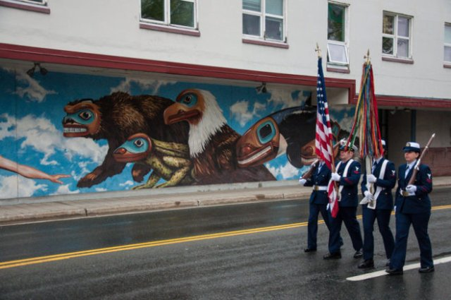 Juneau, Alaska: 2013 Fourth or July Parade color guard marching past City Hall.