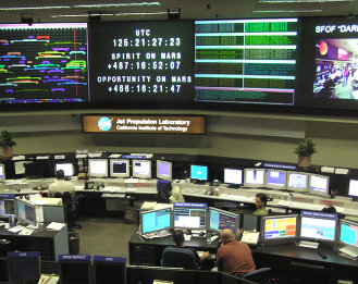 JPL (Jet Propulsion Laboratory) control room. Photo by Alan Mak. (2005)