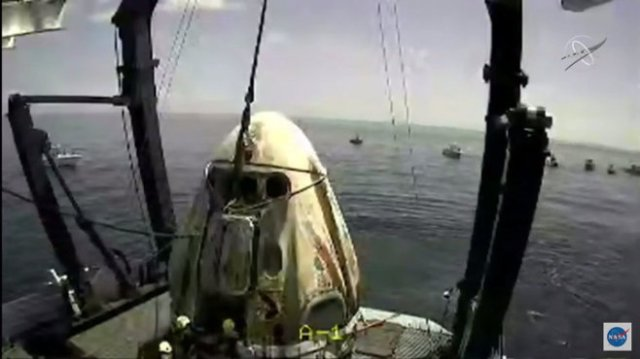 SpaceX Crew Dragon Endeavour on deck of recovery ship GO Navigator. (August 2, 2020)